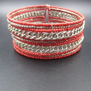 Vintage Red Beaded & Silver Tone Chain Bracelet